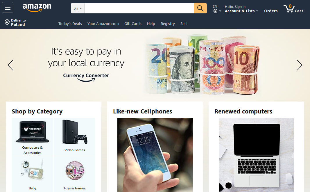 Strona amazon.com
