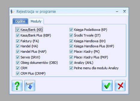 Comarch Optima. Okno wyboru modułów.