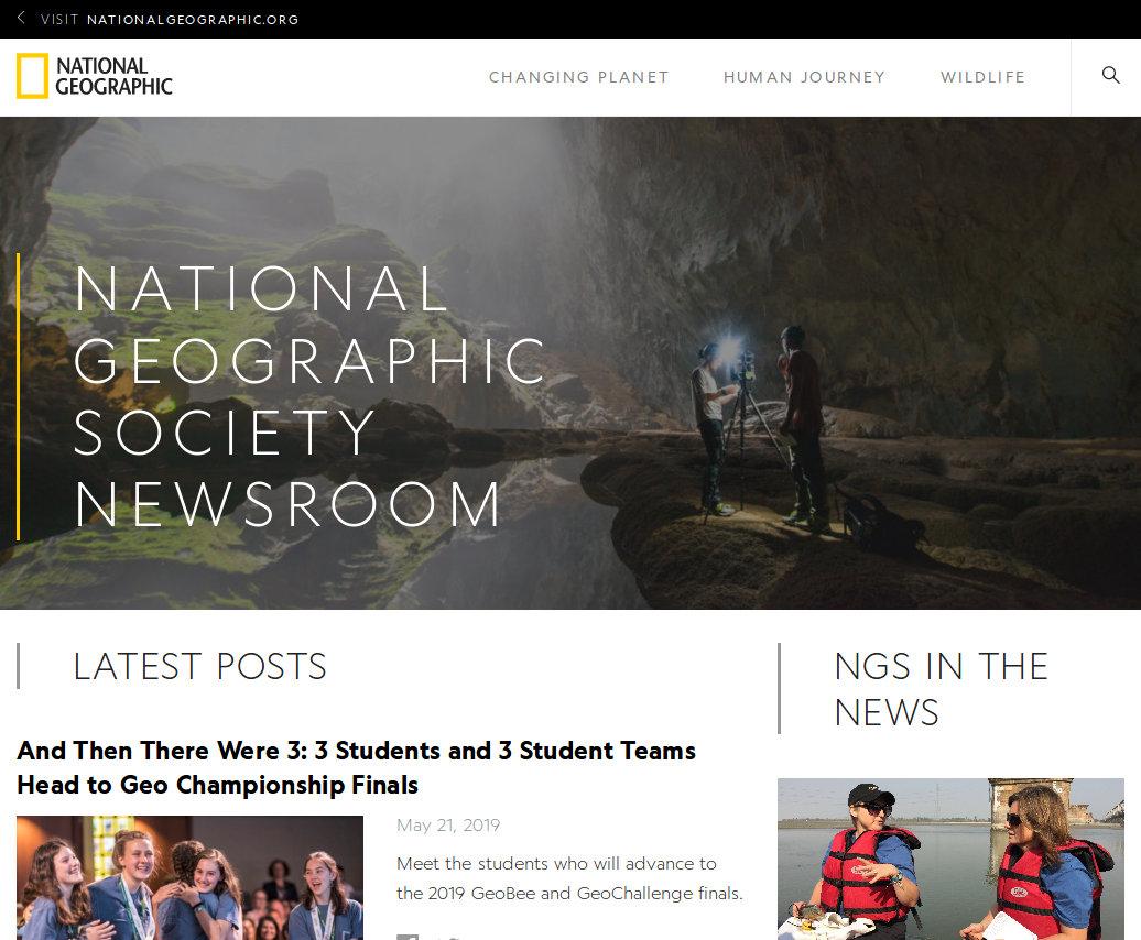 Przykład strony opartej o WordPress - Blog National Geographic