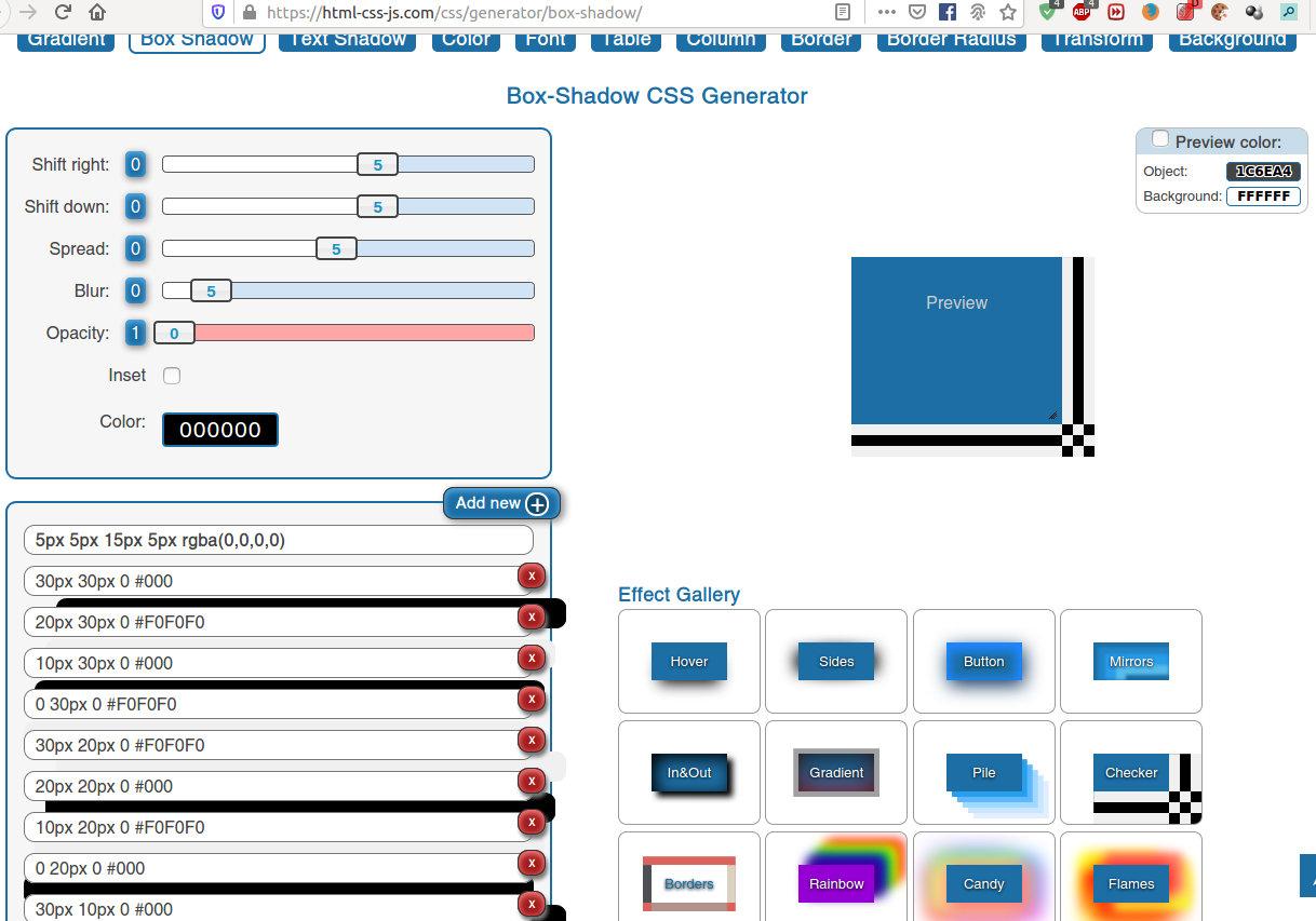 Przykład cienia HTML/CSS