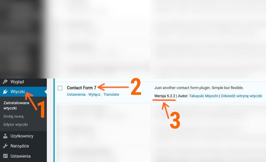Wersja wtyczki contact Form 7