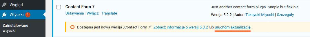 Komunikat o aktualizacji Contact Form 7
