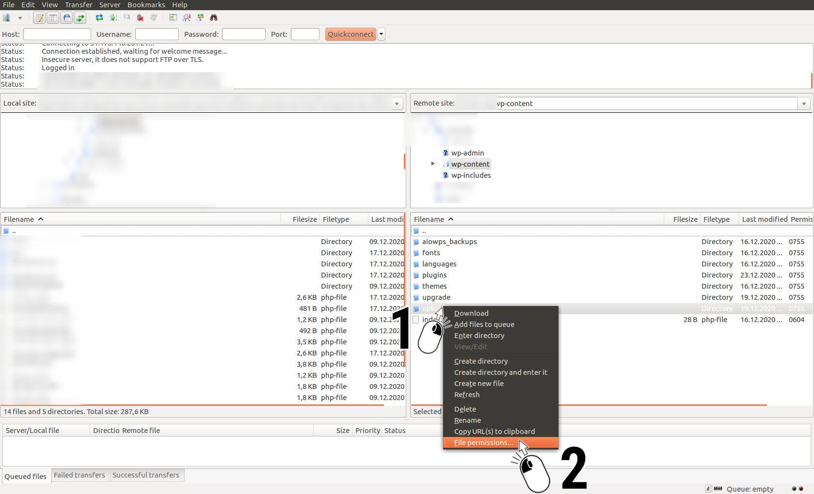 FileZilla, File permissions...