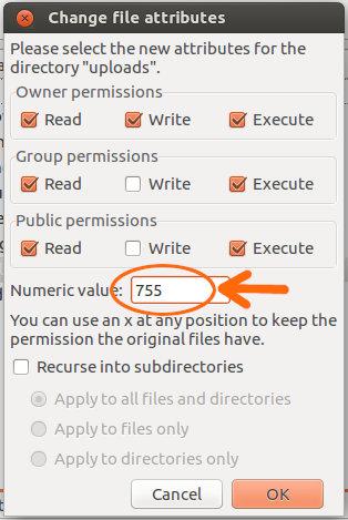 FileZilla, uprawnienia foldera