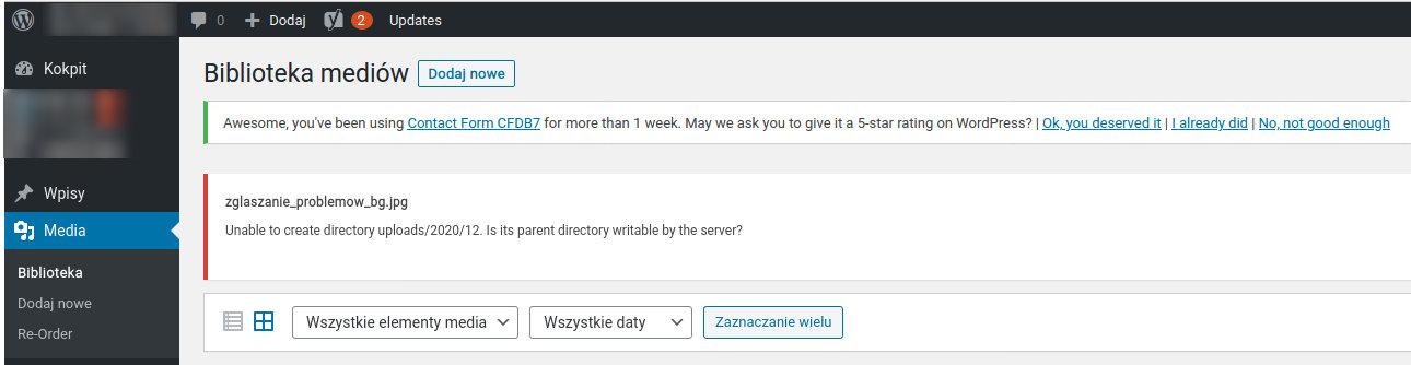 Błąd ładowania plików w WordPress