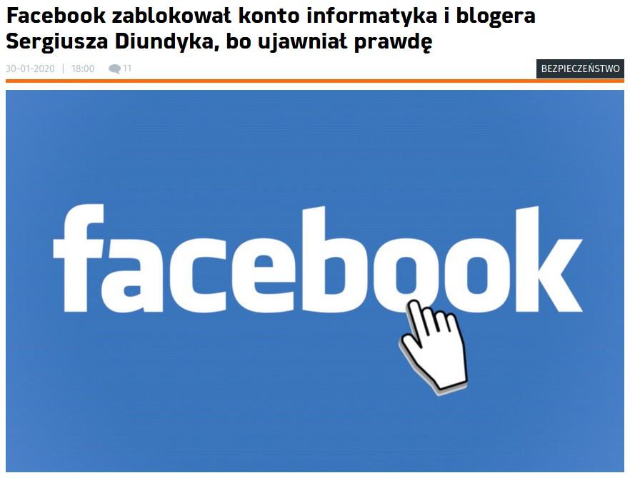 Jak Facebook zbanował niewygodnego autora