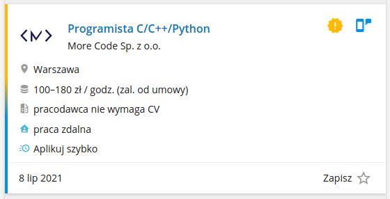 Praca dla programisty C/C++/Python (pracuj.pl)