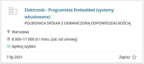 Praca dla programisty-elektronika (pracuj.pl)