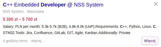Praca dla programisty C++ aplikacji wbudowanych (jobsora.com)