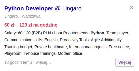 Praca dla programisty Python