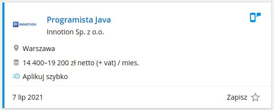 Praca dla programisty Java