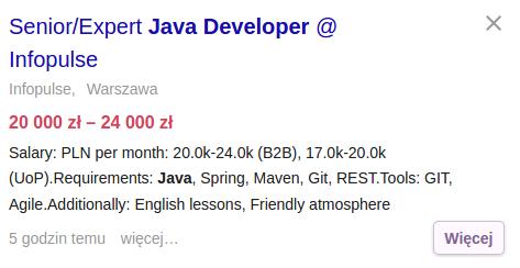 Praca dla eksperta Java