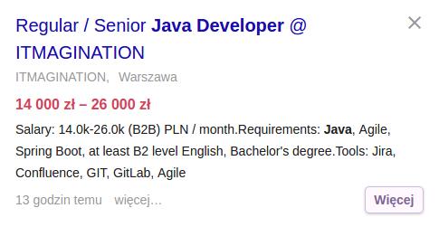 Praca dla doświadczonego programisty Java
