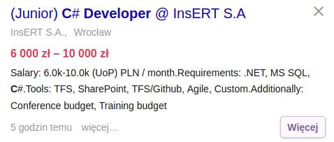 Praca dla początkującego programisty C#