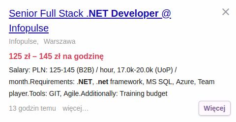 Praca dla doświadczonego programisty .NET, Full Stack