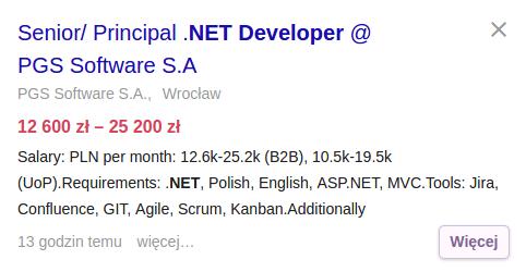 Praca dla doświadczonego programisty .NET
