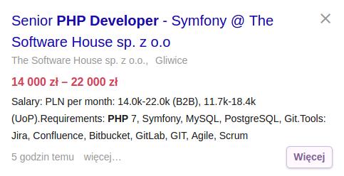 Praca dla programisty PHP, framework Symfony